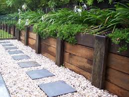 Garden timber retaining wall