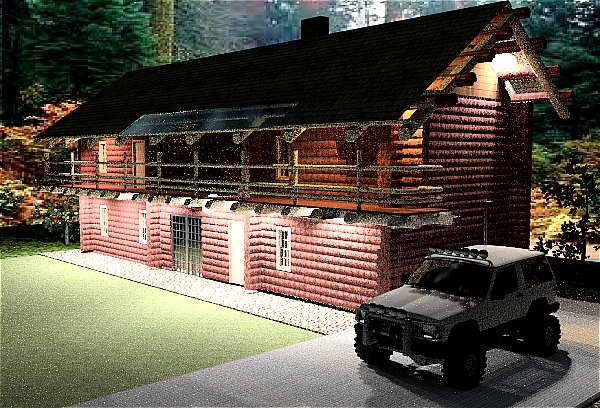 small log mountain house